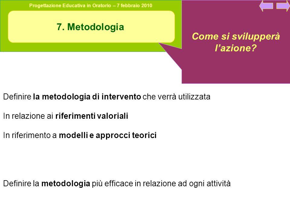 Progettazione Educativa in Oratorio – 7 febbraio 2010 7. Metodologia Come si svilupperà lazione? Definire la metodologia di intervento che verrà utili