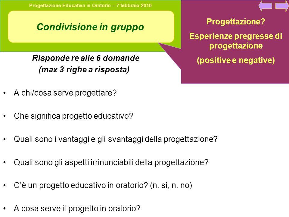 Progettazione Educativa in Oratorio – 7 febbraio 2010 Condivisione in gruppo Risponde re alle 6 domande (max 3 righe a risposta) A chi/cosa serve progettare.