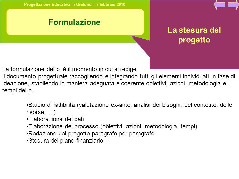 Progettazione Educativa in Oratorio – 7 febbraio 2010 Formulazione La stesura del progetto La formulazione del p. è il momento in cui si redige il doc