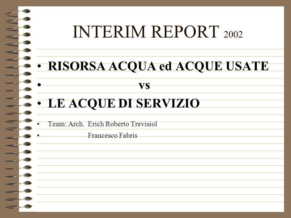 INTERIM REPORT 2002 RISORSA ACQUA ed ACQUE USATE vs LE ACQUE DI SERVIZIO Team: Arch.