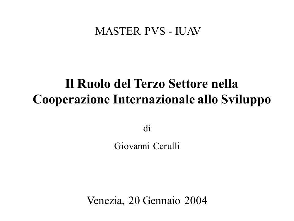 Il Ruolo del Terzo Settore nella Cooperazione Internazionale allo Sviluppo di Giovanni Cerulli MASTER PVS - IUAV Venezia, 20 Gennaio 2004