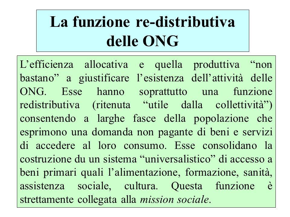 La funzione re-distributiva delle ONG Lefficienza allocativa e quella produttiva non bastano a giustificare lesistenza dellattività delle ONG.