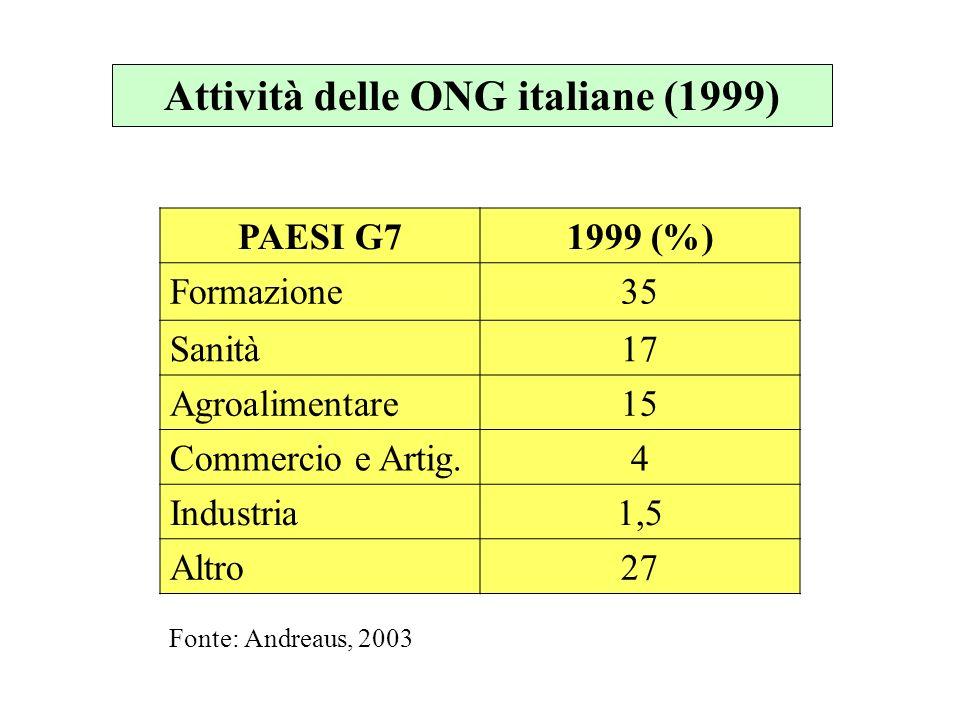 Attività delle ONG italiane (1999) PAESI G71999 (%) Formazione35 Sanità17 Agroalimentare15 Commercio e Artig.4 Industria1,5 Altro27 Fonte: Andreaus, 2003