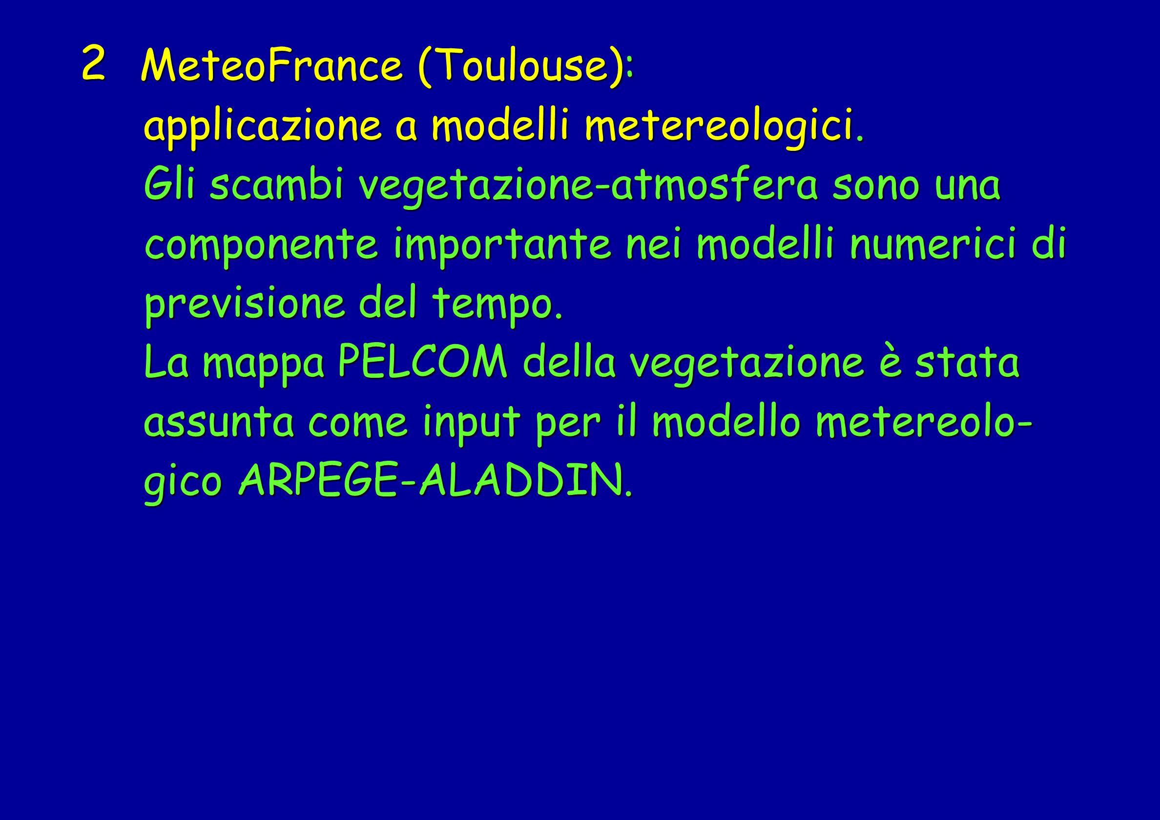 2 MeteoFrance (Toulouse): applicazione a modelli metereologici. applicazione a modelli metereologici. Gli scambi vegetazione-atmosfera sono una Gli sc