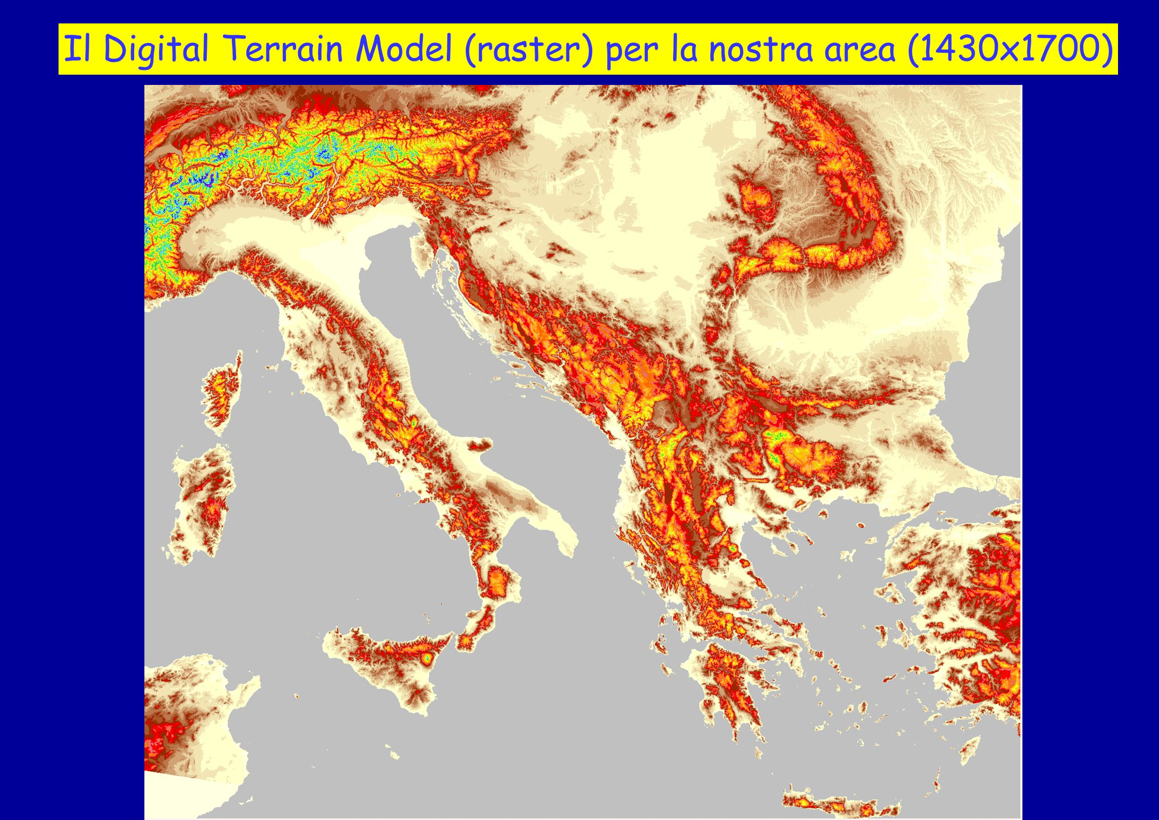 Il Digital Terrain Model (raster) per la nostra area (1430x1700)