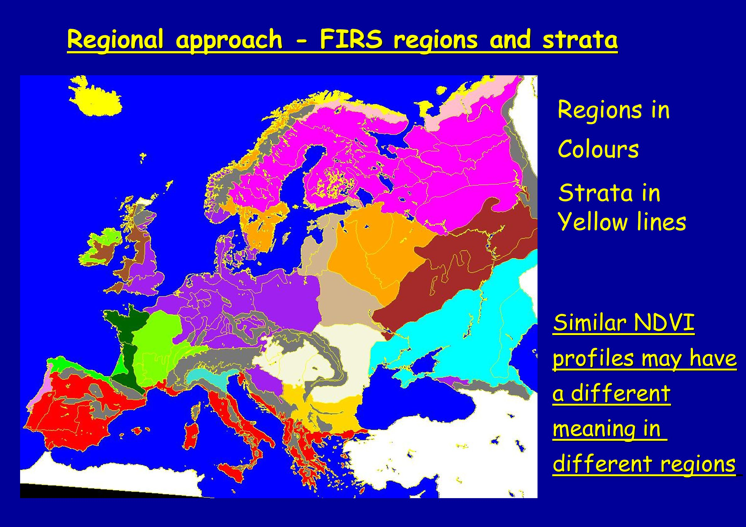 Regions in Colours Strata in Yellow lines Regional approach - FIRS regions and strata Similar NDVI profiles may have a different meaning in different regions