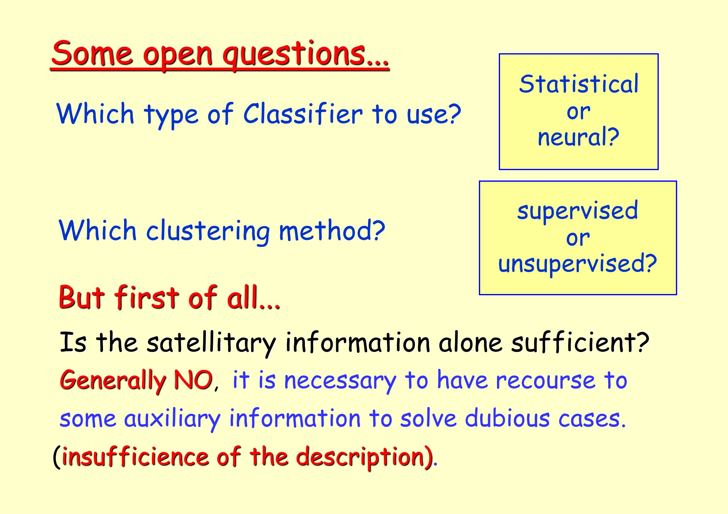 Which type of Classifier to use? Some open questions... Statistical or neural? Which clustering method? But first of all... Is the satellitary informa