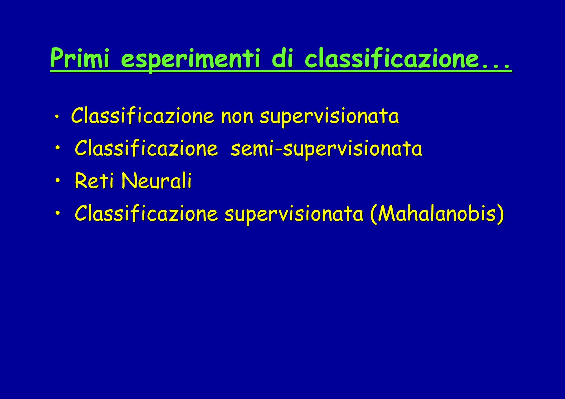 Primi esperimenti di classificazione... Classificazione non supervisionata Classificazione non supervisionata Classificazione semi-supervisionata Clas