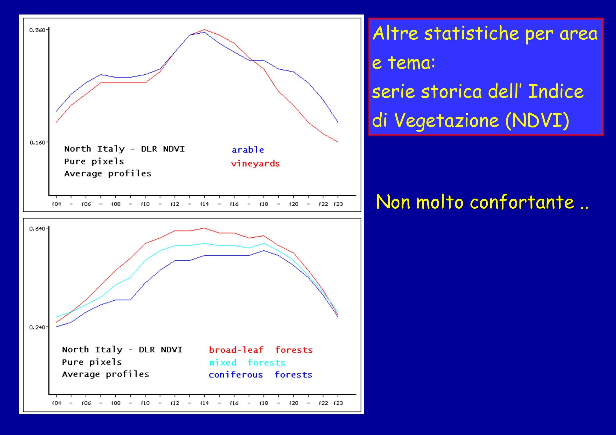 Altre statistiche per area e tema: serie storica dell Indice di Vegetazione (NDVI) Non molto confortante..