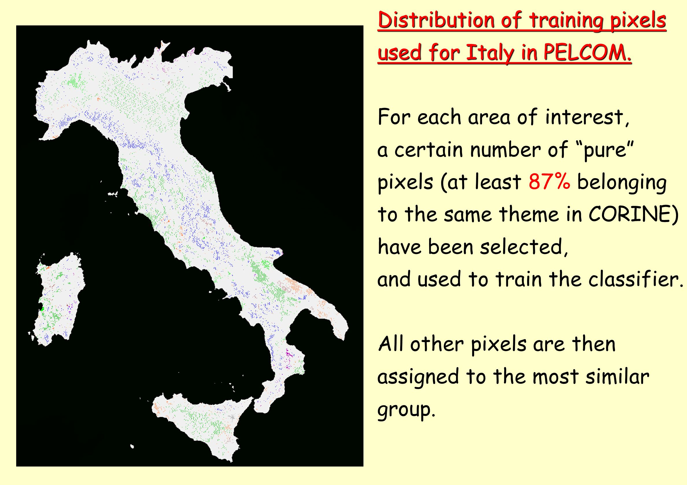 Distribution of training pixels used for Italy in PELCOM. For each area of interest, a certain number of pure pixels (at least 87% belonging to the sa