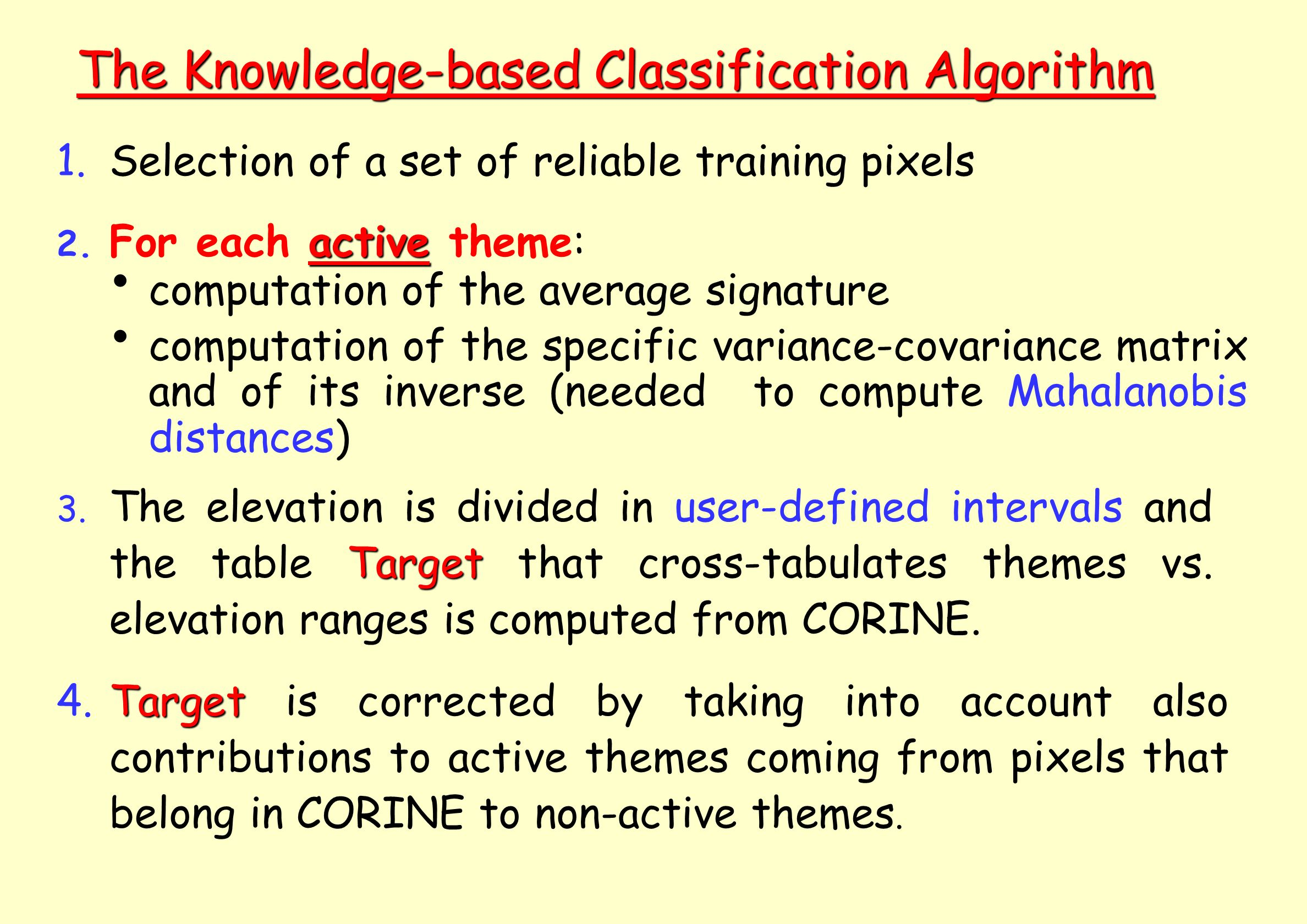 The Knowledge-based Classification Algorithm 1.Selection of a set of reliable training pixels active 2.
