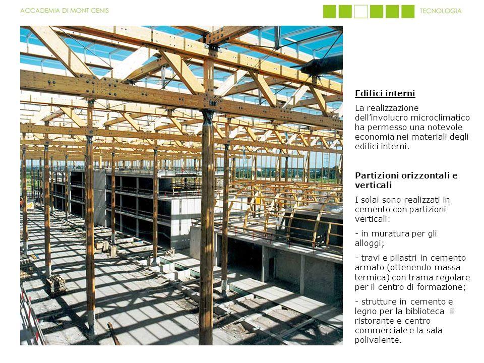 Edifici interni La realizzazione dellinvolucro microclimatico ha permesso una notevole economia nei materiali degli edifici interni. Partizioni orizzo