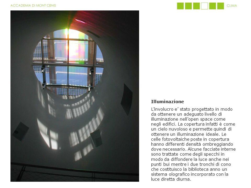 Illuminazione Linvolucro e stato progettato in modo da ottenere un adeguato livello di illuminazione nellopen space come negli edifici. La copertura i