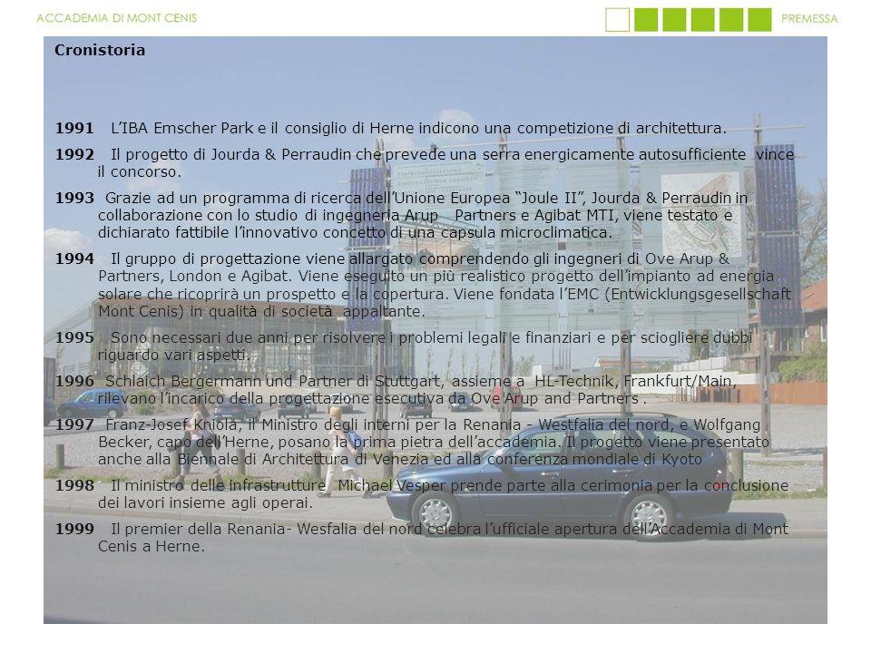 Cronistoria 1991 LIBA Emscher Park e il consiglio di Herne indicono una competizione di architettura. 1992 Il progetto di Jourda & Perraudin che preve