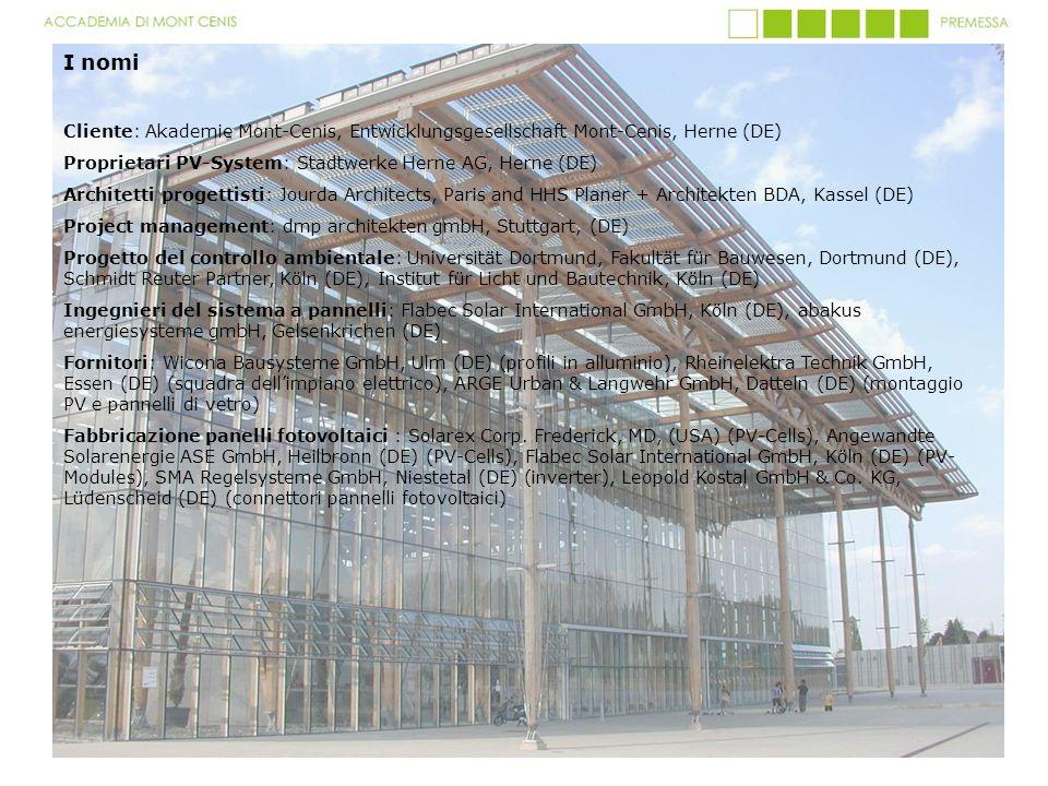 I nomi Cliente: Akademie Mont-Cenis, Entwicklungsgesellschaft Mont-Cenis, Herne (DE) Proprietari PV-System: Stadtwerke Herne AG, Herne (DE) Architetti