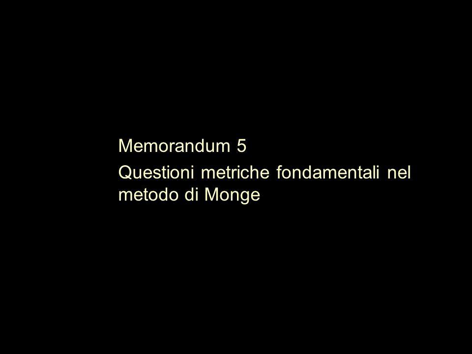 Memorandum 5 Questioni metriche fondamentali nel metodo di Monge