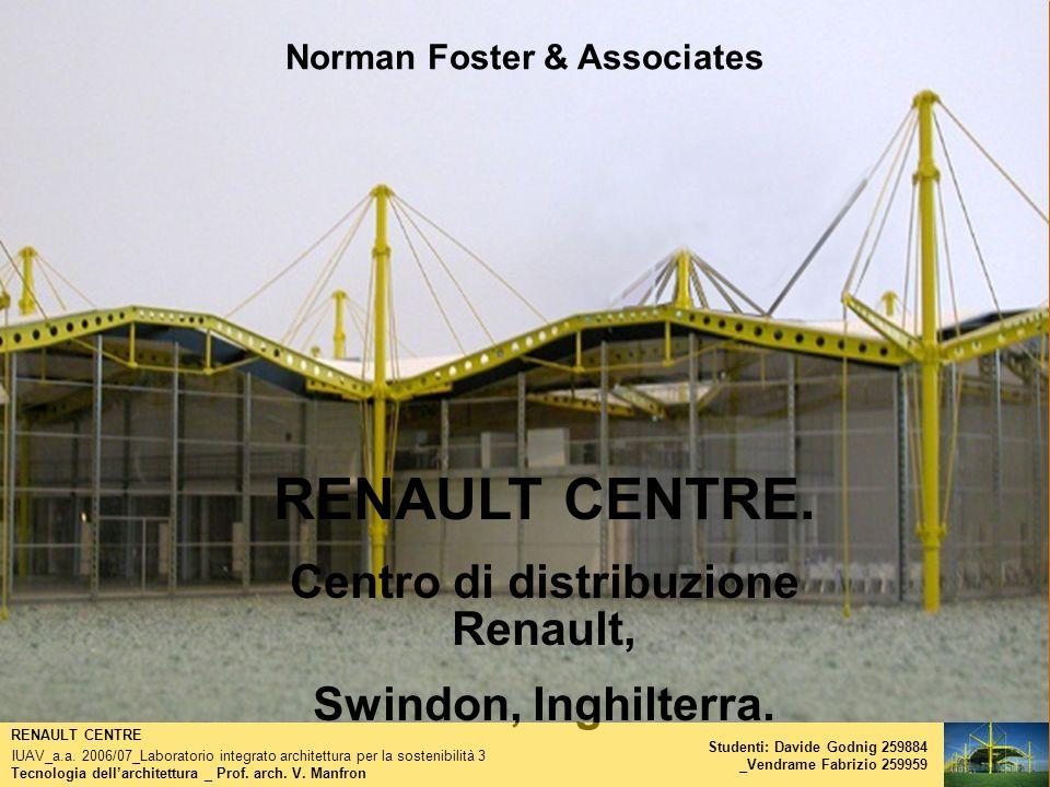 Norman Foster & Associates RENAULT CENTRE. Centro di distribuzione Renault, Swindon, Inghilterra. Tecnologia dellarchitettura _ Prof. arch. V. Manfron