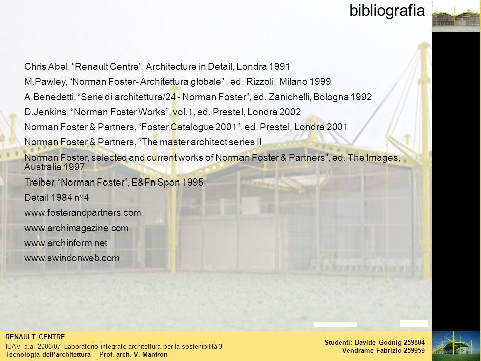 bibliografia Tecnologia dellarchitettura _ Prof. arch. V. Manfron RENAULT CENTRE IUAV_a.a. 2006/07_Laboratorio integrato architettura per la sostenibi