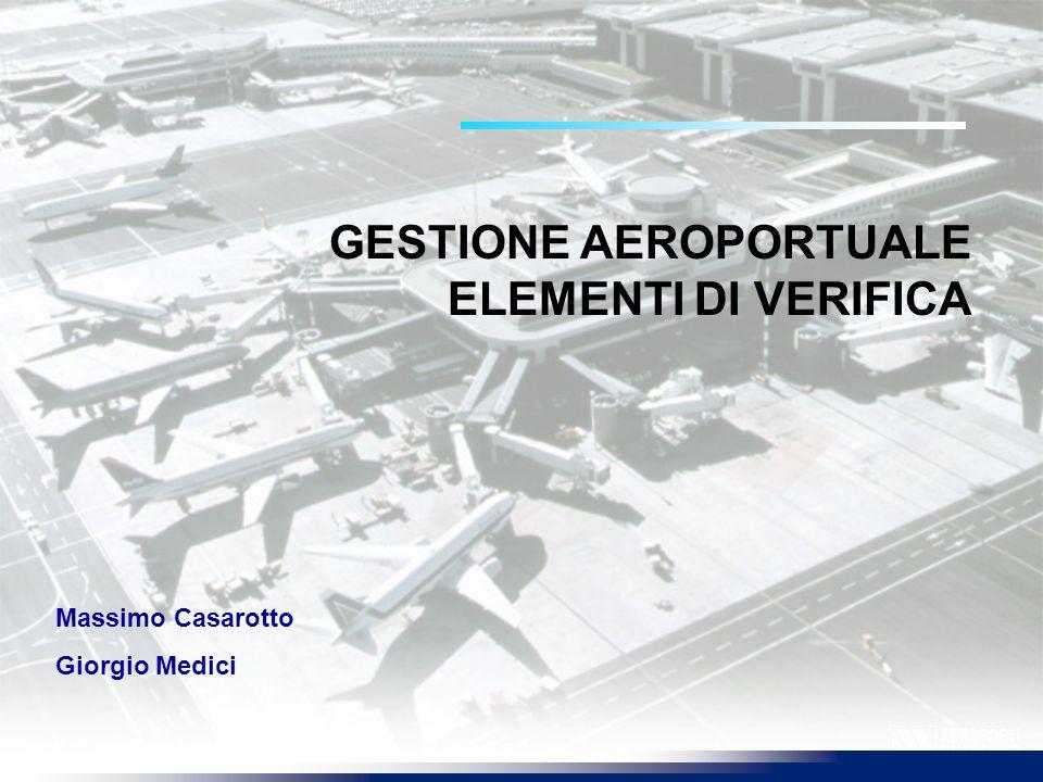 GESTIONE AEROPORTUALE ELEMENTI DI VERIFICA Massimo Casarotto Giorgio Medici