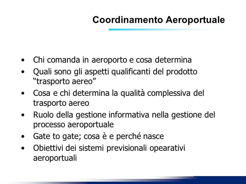 Coordinamento Aeroportuale Chi comanda in aeroporto e cosa determina Quali sono gli aspetti qualificanti del prodotto trasporto aereo Cosa e chi deter