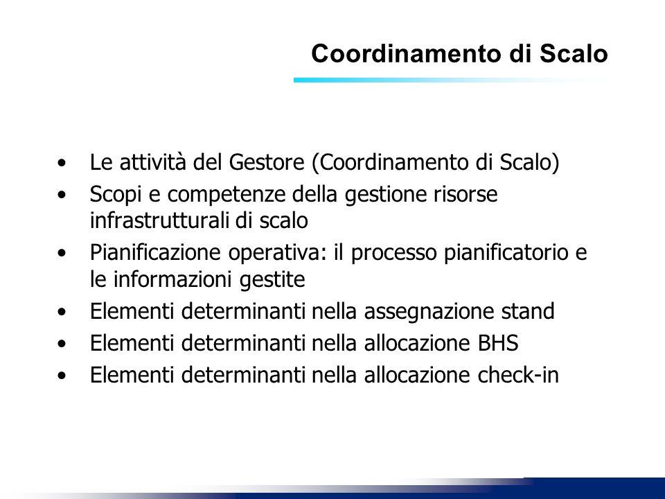 Coordinamento di Scalo Le attività del Gestore (Coordinamento di Scalo) Scopi e competenze della gestione risorse infrastrutturali di scalo Pianificaz