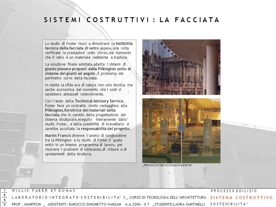 S I S T E M I C O S T R U T T I V I : L A F A C C I A T A Lo studio di Foster riuscì a dimostrare la fattibilità tecnica della facciata di vetro appes