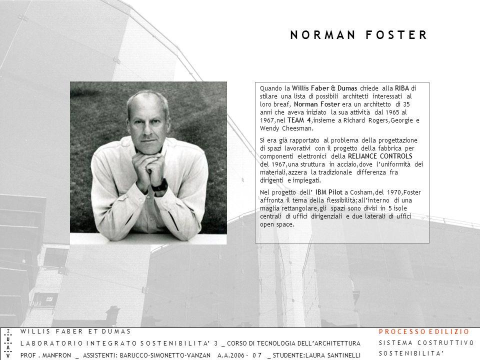 N O R M A N F O S T E R Quando la Willis Faber & Dumas chiede alla RIBA di stilare una lista di possibili architetti interessati al loro breaf, Norman