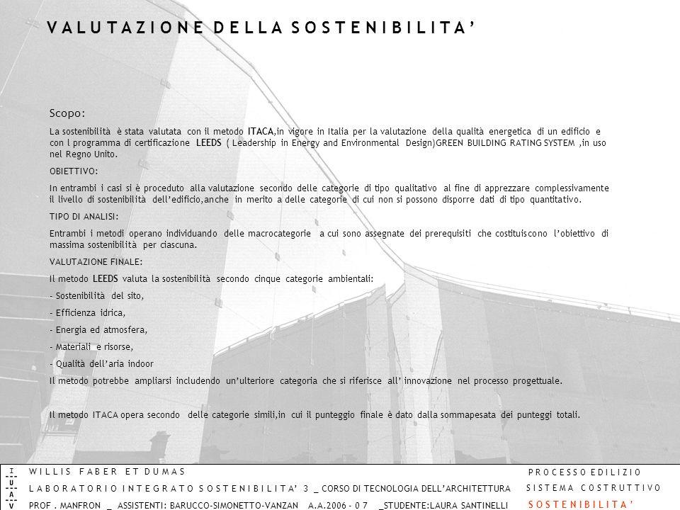 Scopo: La sostenibilità è stata valutata con il metodo ITACA,in vigore in Italia per la valutazione della qualità energetica di un edificio e con l pr