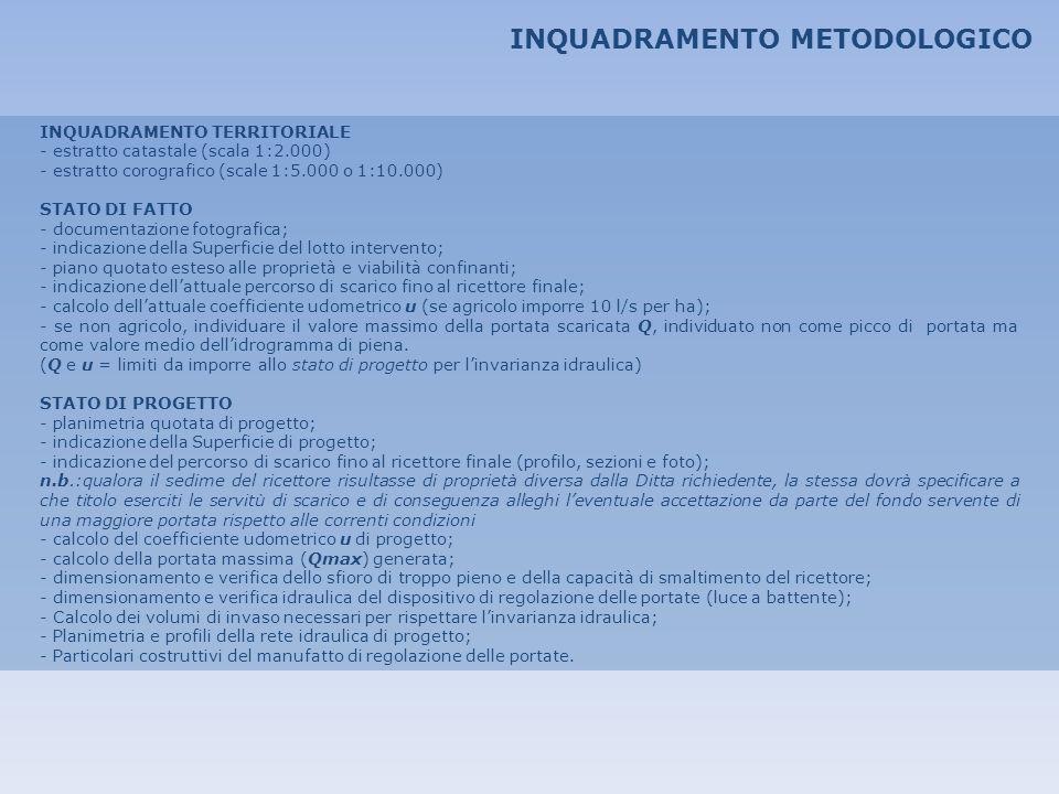 INQUADRAMENTO METODOLOGICO INQUADRAMENTO TERRITORIALE - estratto catastale (scala 1:2.000) - estratto corografico (scale 1:5.000 o 1:10.000) STATO DI