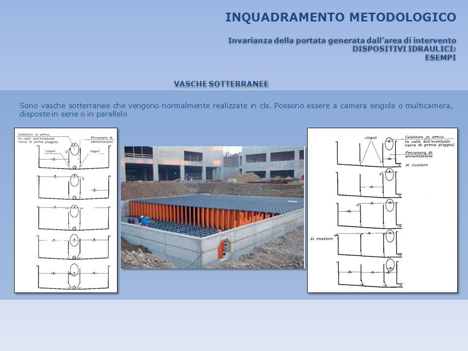 INQUADRAMENTO METODOLOGICO VASCHE SOTTERRANEE Sono vasche sotterranee che vengono normalmente realizzate in cls. Possono essere a camera singola o mul