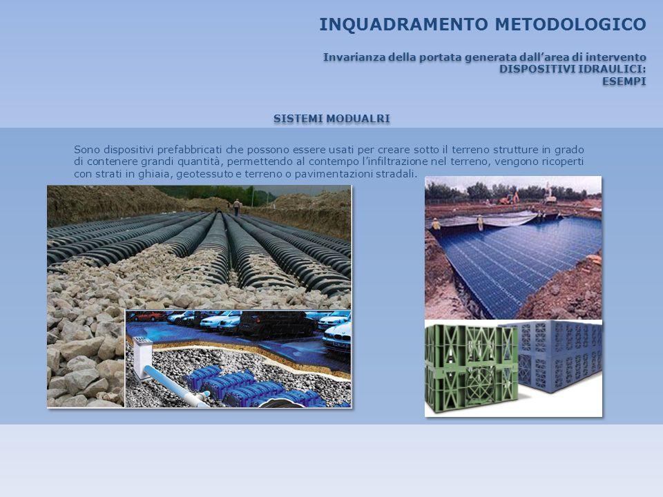 INQUADRAMENTO METODOLOGICO SISTEMI MODUALRI Sono dispositivi prefabbricati che possono essere usati per creare sotto il terreno strutture in grado di