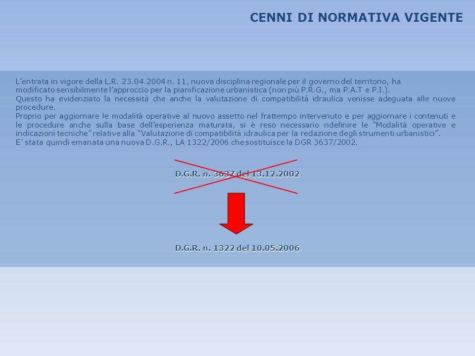 CENNI DI NORMATIVA VIGENTE Lentrata in vigore della L.R. 23.04.2004 n. 11, nuova disciplina regionale per il governo del territorio, ha modificato sen