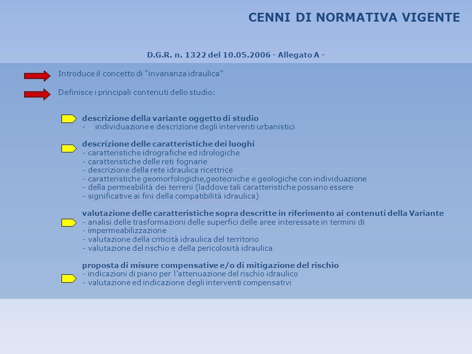 CENNI DI NORMATIVA VIGENTE D.G.R. n. 1322 del 10.05.2006 - Allegato A - Introduce il concetto di invarianza idraulica Definisce i principali contenuti