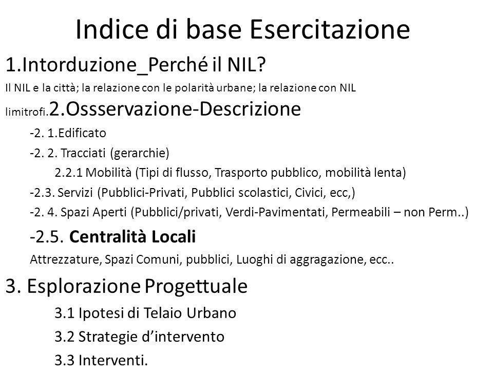 Indice di base Esercitazione 1.Intorduzione_Perché il NIL? Il NIL e la città; la relazione con le polarità urbane; la relazione con NIL limitrofi. 2.O