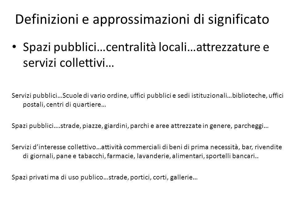Definizioni e approssimazioni di significato Spazi pubblici…centralità locali…attrezzature e servizi collettivi… Servizi pubblici…Scuole di vario ordi