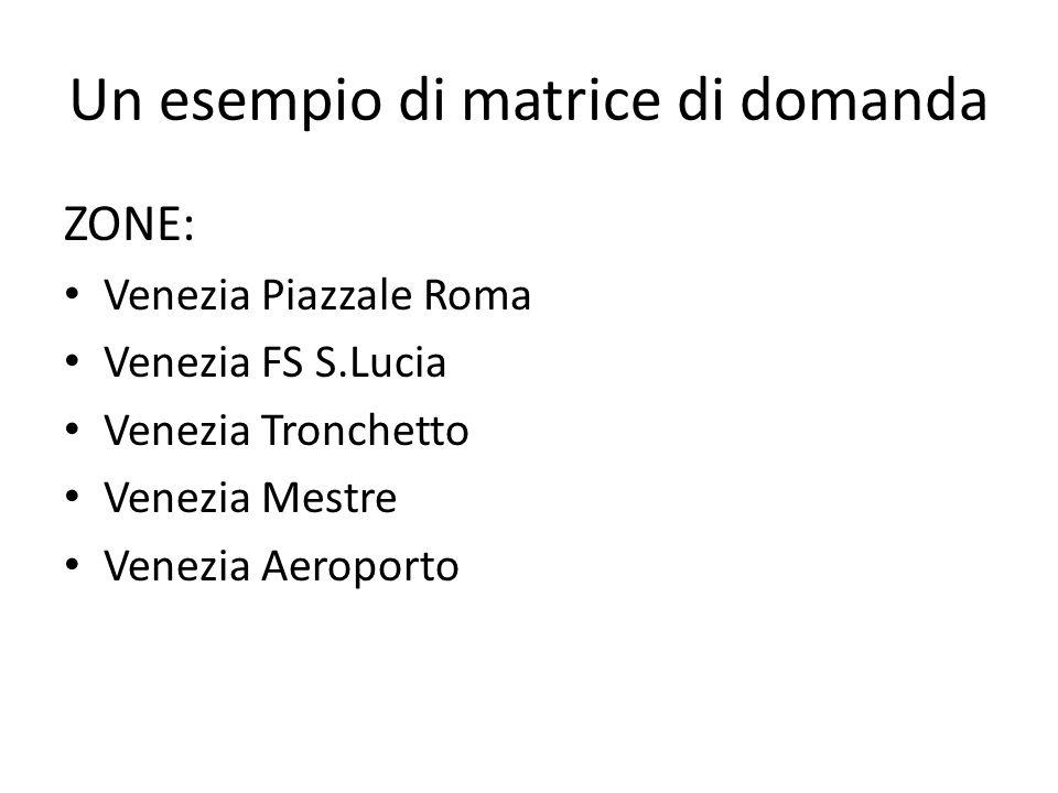 Un esempio di matrice di domanda ZONE: Venezia Piazzale Roma Venezia FS S.Lucia Venezia Tronchetto Venezia Mestre Venezia Aeroporto