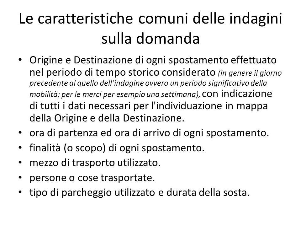 Le caratteristiche comuni delle indagini sulla domanda Origine e Destinazione di ogni spostamento effettuato nel periodo di tempo storico considerato