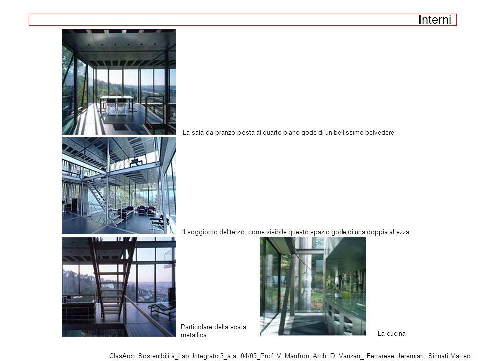 La sala da pranzo posta al quarto piano gode di un bellissimo belvedere Il soggiorno del terzo, come visibile questo spazio gode di una doppia altezza Particolare della scala metallica ClasArch Sostenibilità_Lab.