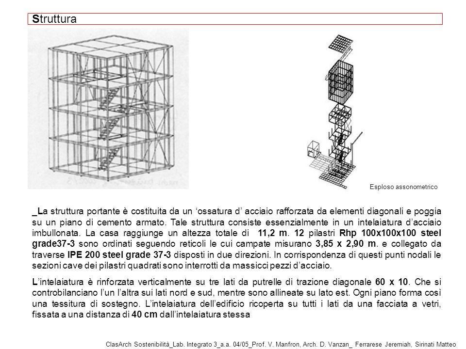 _La struttura portante è costituita da un ossatura d acciaio rafforzata da elementi diagonali e poggia su un piano di cemento armato.