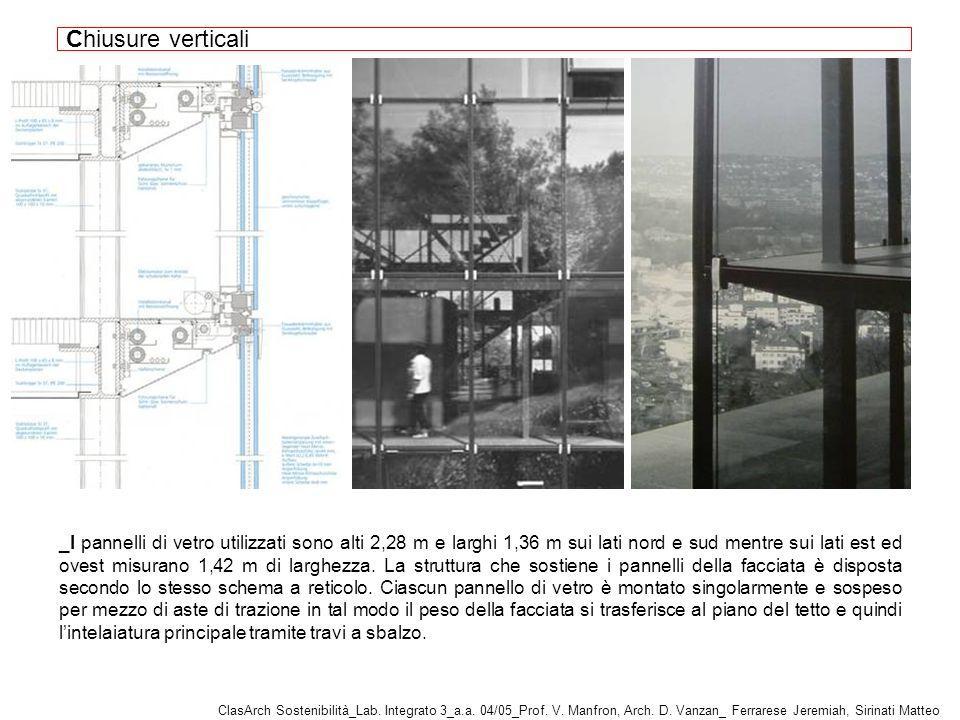_I pannelli di vetro utilizzati sono alti 2,28 m e larghi 1,36 m sui lati nord e sud mentre sui lati est ed ovest misurano 1,42 m di larghezza.
