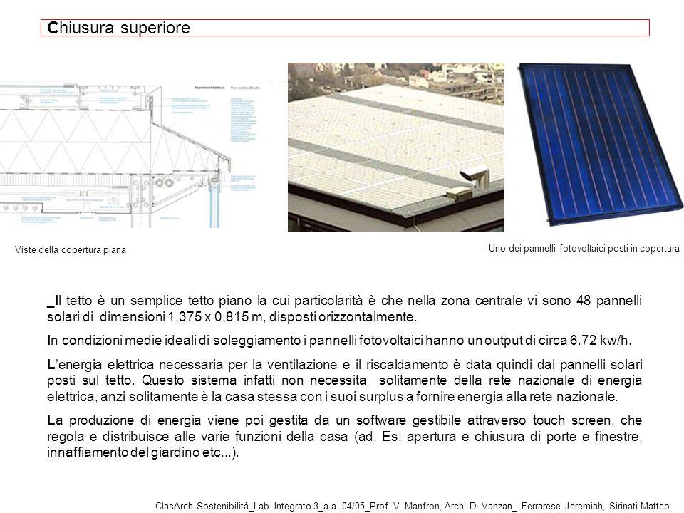 _Il tetto è un semplice tetto piano la cui particolarità è che nella zona centrale vi sono 48 pannelli solari di dimensioni 1,375 x 0,815 m, disposti orizzontalmente.