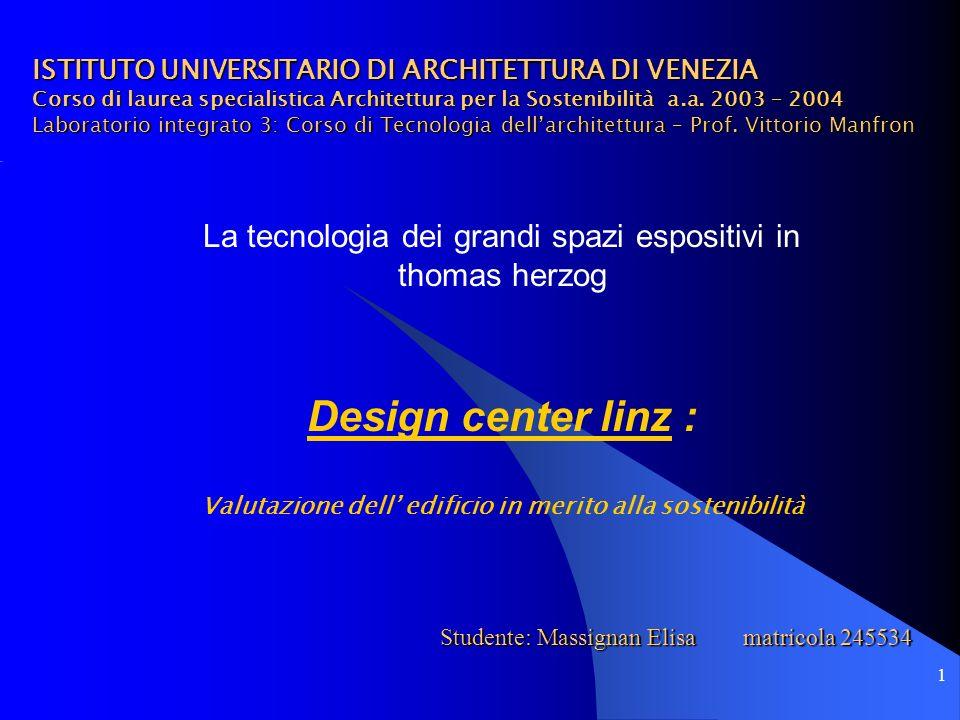 2 Design Center, Linz Centro per esposizioni e congressi Progettisti: Herzog+Parter, Monaco Prof.