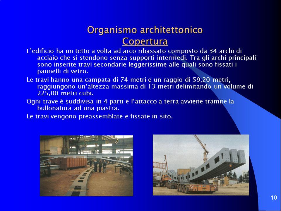 10 Organismo architettonico Copertura Ledificio ha un tetto a volta ad arco ribassato composto da 34 archi di acciaio che si stendono senza supporti i