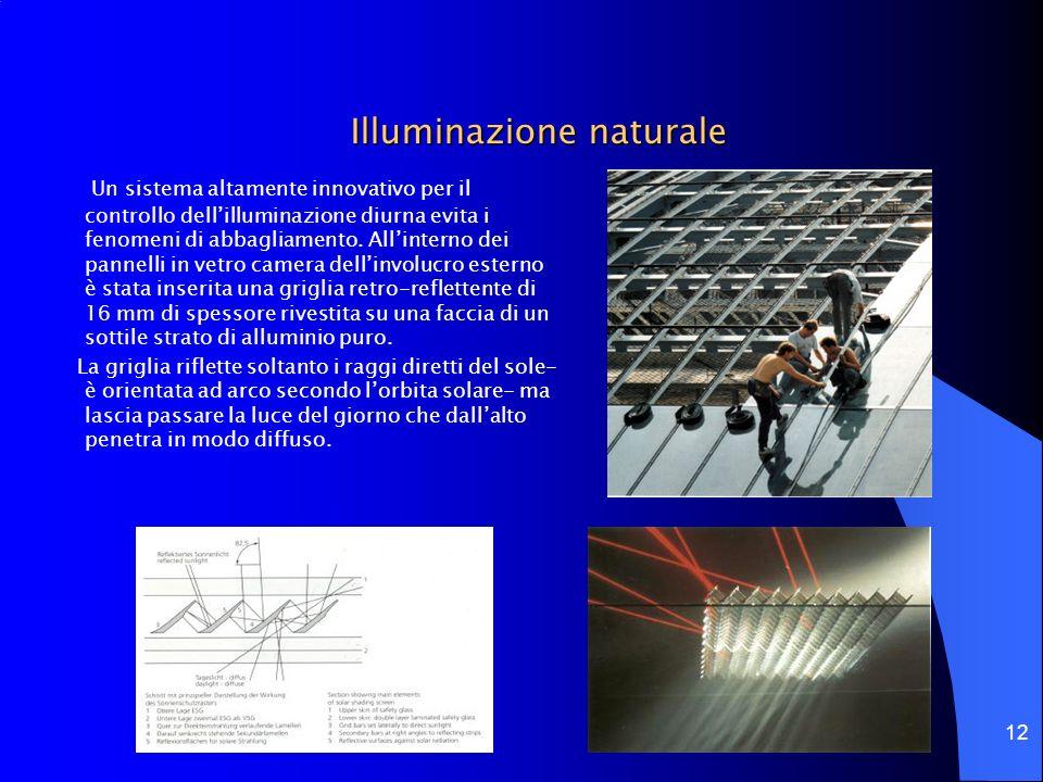 12 Illuminazione naturale Un sistema altamente innovativo per il controllo dellilluminazione diurna evita i fenomeni di abbagliamento. Allinterno dei