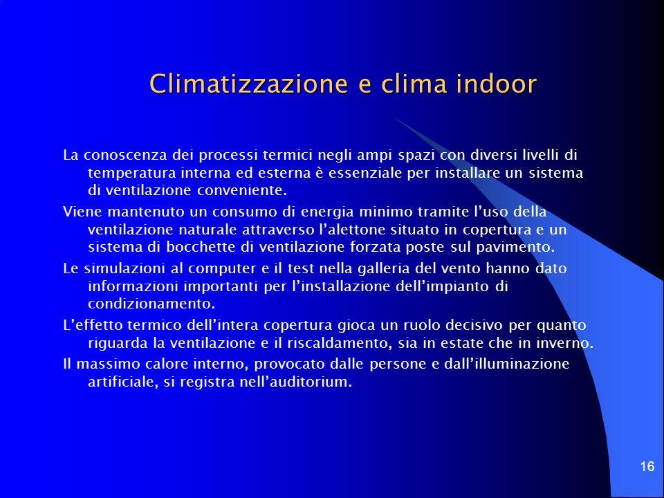 16 Climatizzazione e clima indoor La conoscenza dei processi termici negli ampi spazi con diversi livelli di temperatura interna ed esterna è essenzia