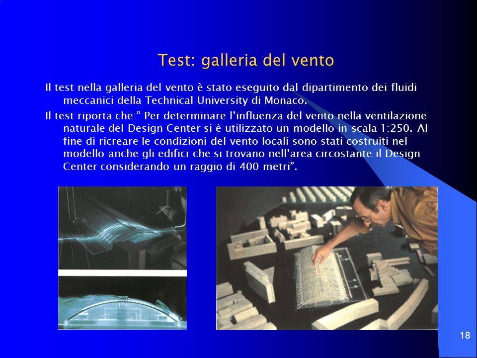 18 Test: galleria del vento Il test nella galleria del vento è stato eseguito dal dipartimento dei fluidi meccanici della Technical University di Mona