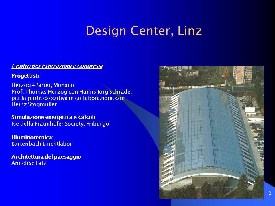 2 Design Center, Linz Centro per esposizioni e congressi Progettisti: Herzog+Parter, Monaco Prof. Thomas Herzog con Hanns Jorg Schrade, per la parte e