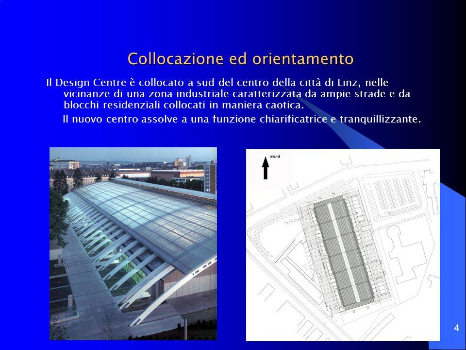 4 Collocazione ed orientamento Il Design Centre è collocato a sud del centro della città di Linz, nelle vicinanze di una zona industriale caratterizza
