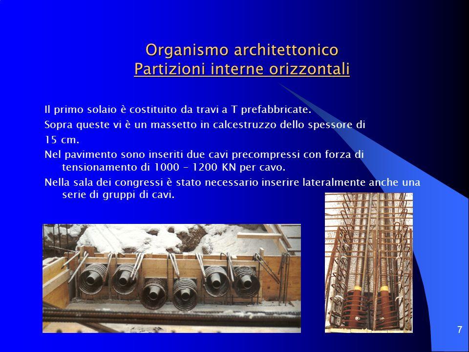 7 Organismo architettonico Partizioni interne orizzontali Il primo solaio è costituito da travi a T prefabbricate. Sopra queste vi è un massetto in ca