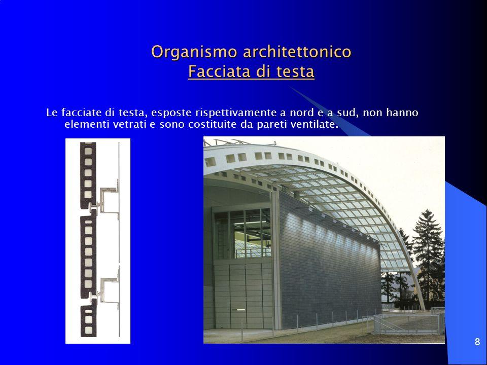 8 Organismo architettonico Facciata di testa Le facciate di testa, esposte rispettivamente a nord e a sud, non hanno elementi vetrati e sono costituit